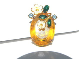 Vintage Czecho Topaz Colored Stone  with Rhinestones and Enamel Flowers - $26.99