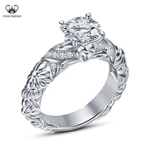 White Gold Plated Solid 925 Silver Round Cut Diamond Solitaire W/ Accent... - ₨4,868.89 INR