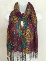 Dalia's Geometric Rhombus Scarf Purple Multicolor Soft Poly Gauze Rectan... - $19.99