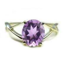 Natural Amethyst Gemstone Sterling Silver Ring Oval Cut Birthstone Sizes... - £6.57 GBP