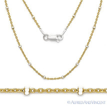 925 Sterling Silver 14k Yellow Gold-Plated 1.9mm Bead 1.3mm Cable Chain Necklace - $16.72 - $22.51