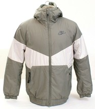 Nike Gray & White Zip Front Insulated Hooded Jacket Men's NWT - $105.74
