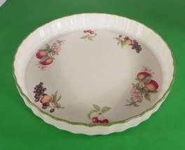 Royal Doulton COUNTRY LANE Brushed Green Trim Quiche Pie Plate Fluted Dish - $27.67