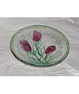 "Fused Glass 3 Flowers Bowl 8"" - $9.41"