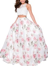Two Piece Floral Print Prom Dresses Long Sleeveless Beaded Formal Evening Gown - $139.99