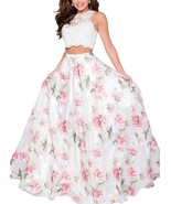 Two Piece Floral Print Prom Dresses Long Sleeveless Beaded Formal Evenin... - $139.99