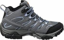 Merrell Womens Moab 2 Mid Gore-Tex Grey Periwinkle Waterproof Trail Boots J06066 - $157.99