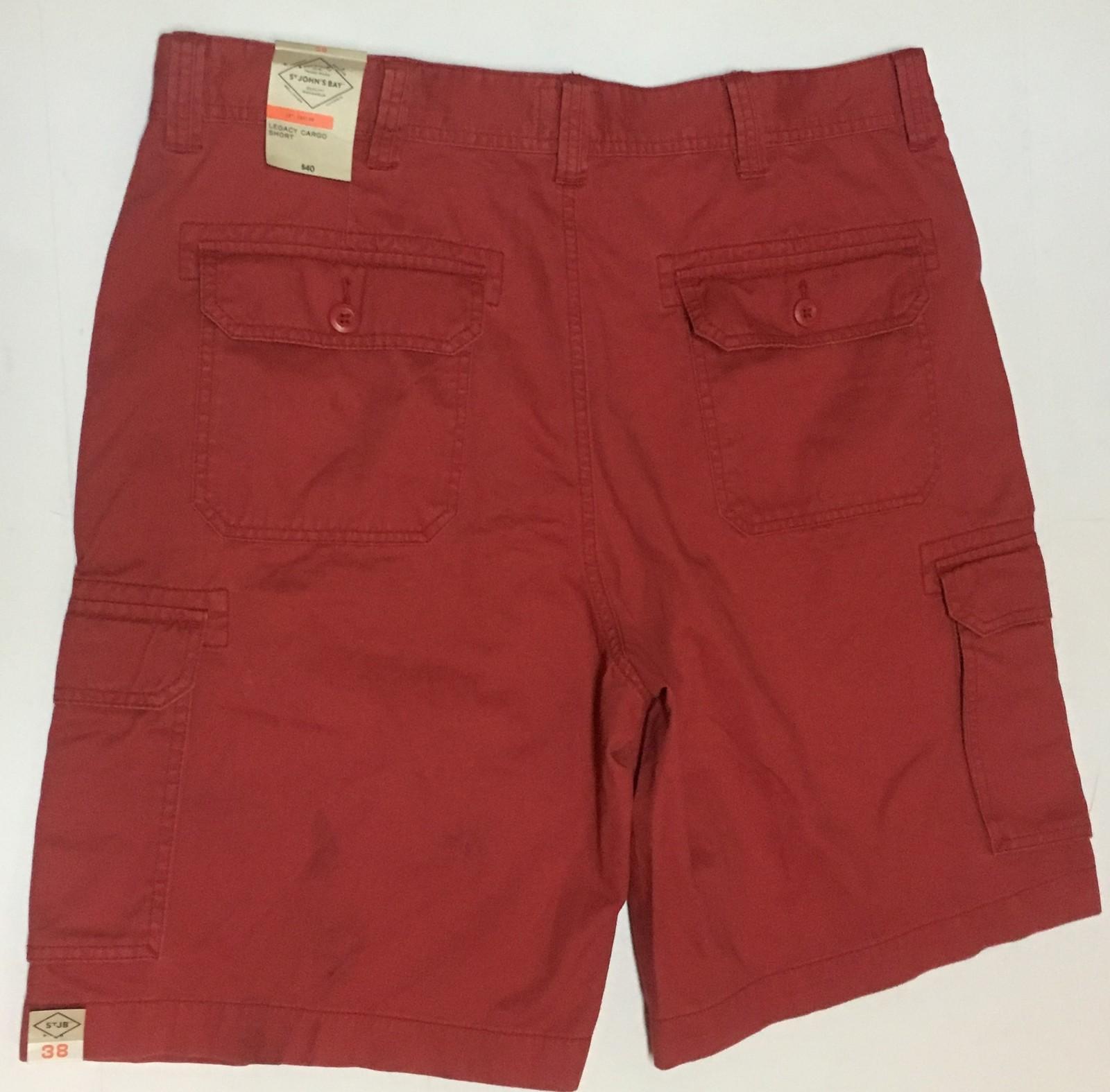 St. John's Bay Men's Cargo Shorts Coral Red Sz 38 NWT