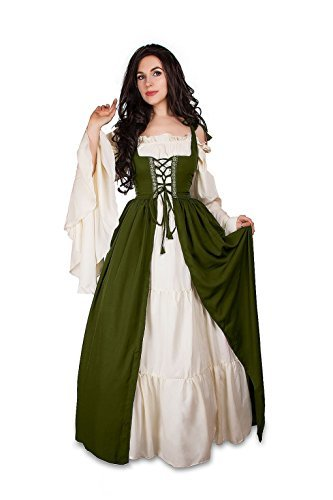 Renaissance Medieval Irish Costume Over Dress & Cream Chemise Set (2XL/3XL, Oliv