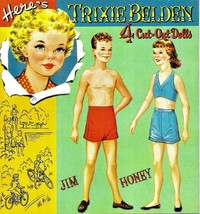 VINTAGE UNCUT 1956 TRIXIE BELDEN PAPER DOLLS~#1 REPRODUCTION~FABULOUS RA... - $19.99