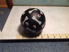 NEW Black Glass Ornament w Silver Dog Bones and Red Crystals image 4