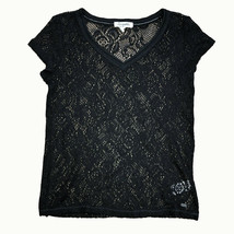 Aeropostale Womens Black Floral Lace Net Top Petite Small Short Sleeve S... - $11.75