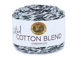 Lion Brand Twisted Cotton Blend Yarn in Navy/Ecru #48208