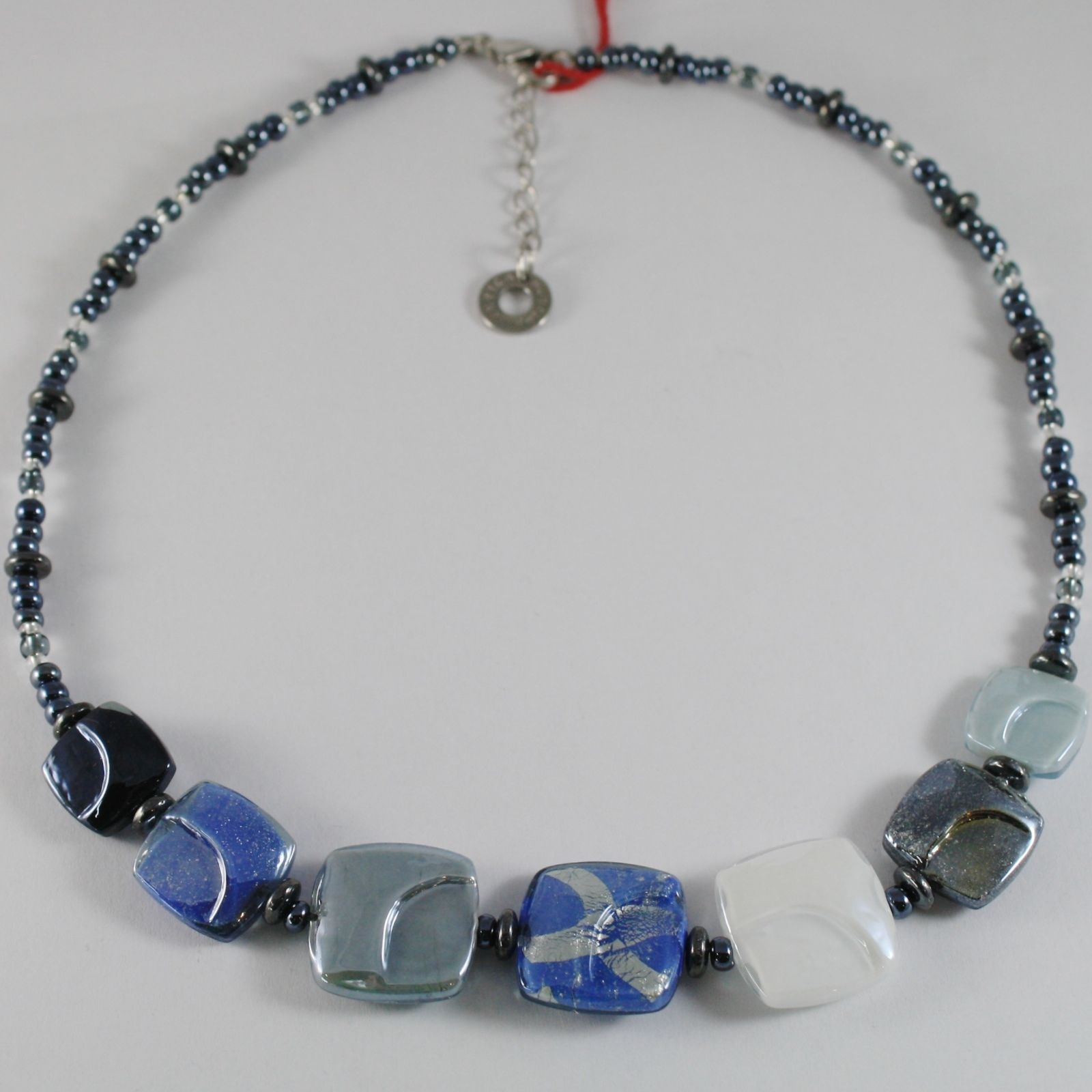 ANTICA MURRINA VENEZIA CORNER NECKLACE MULTICOLOR GRAY WITHE BLUE SQUARE SQUARES