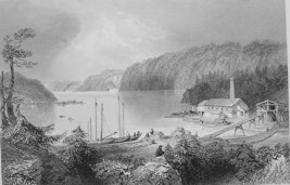 CANADA Indian Town on St. John River - BARTLETT Antique Print - $11.09