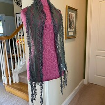 Christopher and Banks Army Olive Green Fancy Lace Neck Scarf NWT - $15.83
