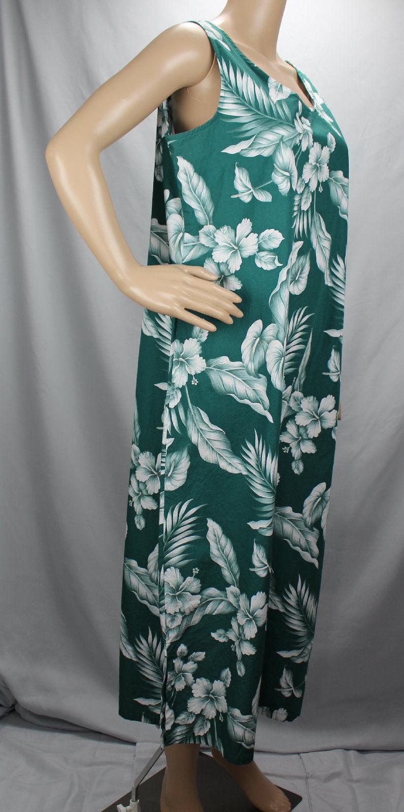 Hilo Hattie Long Large Hawaiian Dress Green White Scoop Neck Style 426 Aloha