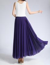 Purple Chiffon Skirt High Waisted Long Chiffon Skirt Wedding Chiffon Skirts image 4