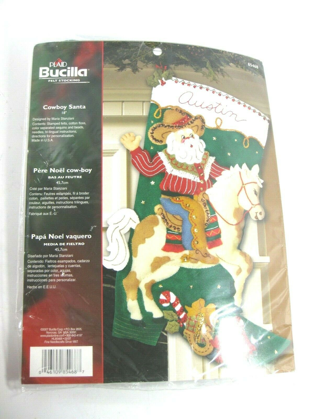 Bucilla Cowboy Santa Felt Christmas Stocking Kit Western Pinto Paint Horse Boot  - $49.99