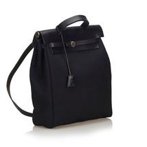 Pre-Loved Hermes Black Canvas Fabric Herbag Backpack France - $956.11