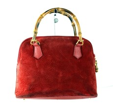 Authentic GUCCI Vintage Red Suede Leather Bamboo Handle Hand Bag Purse I... - $197.01
