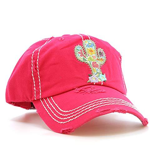 Distressed Vintage Style Floral Cactus Cap Baseball Hat (Hot Pink)