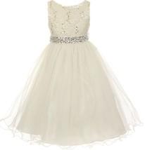Flower Girl Dress Glitters Sequin Top Rhinestone Sash Ivory MBK 340 - $47.99