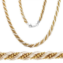 925 Sterling Silver 14k Yellow Gold Twist Rope Bead Link Chain Necklace ... - $141.81