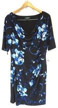 NWT RALPH LAUREN Women's Black Cowl Neck Sheath Dress w Pleating on Left... - $64.39