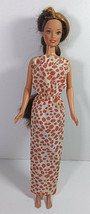 Vintage Barbie Doll Clothing Animal Print Dress Mattel 1988 Strapless Mu... - $4.99