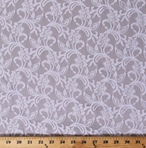 """Lace Off-White Tightly Woven Floral Leaf Pattern 54"""" Fabric by the Yard D171.13 - $9.95"""