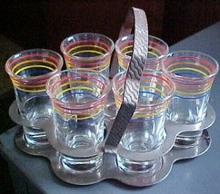 Banded Rings Shot Glasses Set of 6 with their handled metal carrier - $23.38