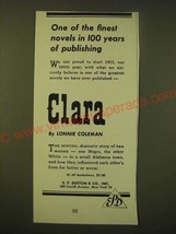1952 E.P. Dutton & Co. Clara by Lonnie Coleman Ad - One of the finest Novels - $14.99