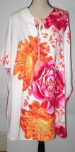 NWT New Designer Natori Gown Silky XS Satin White Orange Pink Caftan Flo... - $123.50