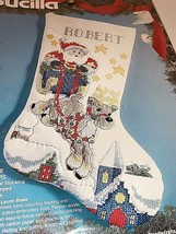 Bucilla Over the Rooftops Santa Quilt Stamped Cross Stitch Stocking Kit 83151 - $31.96
