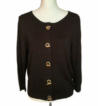 Ellen Tracy Black Cardigan Sweater Gold Toggle Fasteners Size M - $19.79