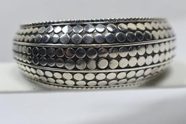 John Hardy Large Dot Kick Cuff Wide Bangle Bracelet Sterling Silver Hinged - $704.95