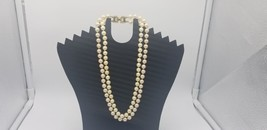 Vintage Monet Double Strand Faux Pearl Choker Necklace 9.5 Inches Long - $19.32