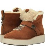 COACH Urban Hiker Suede Ankle Shearling Cold Weather Boots Saddle Natura... - $241.69