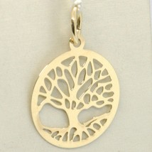 18K YELLOW GOLD TREE OF LIFE ROUND FLAT PENDANT CHARM, 1.0 INCHES MADE IN ITALY  image 1