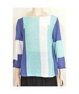 Habitat sweater  M two tone blue and white color block cotton nylon knit... - $39.59