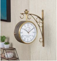 Gold Iron Leather Wrapped Words Embedded 6 Inch Dial Victoria Double Sid... - $320.00