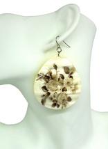 Women new large ivory floral shell tear drop hook pierced earrings - $24.64 CAD