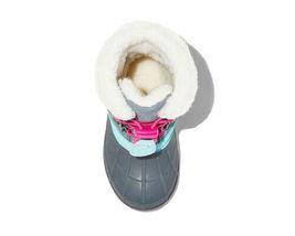 Cat & Jack Toddler Girls' Grey Pink Mora Suede Bungee Winter Boots Size SM 5/6 image 3