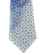 John W. Nordstrom Squared Fleur de Lis Tie Dark Brown Gold Blue 100% Sil... - $28.90