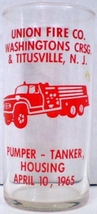 Union Fire Co. Pumper Tanker Housing Glass 1965 - $15.00