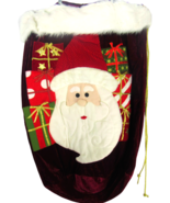 Santa Claus Face Extra Large Gift Sack Toy Bag Velvet Gold Draw String - $32.31