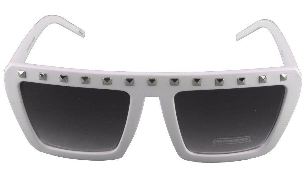 NEW Quay Eyeware Australia 1414 Matte White Silver Studs 100% UV Sunglasses