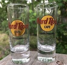 Lot of 2 Hard Rock Cafe Collector Gatlinburg Cozumel Tall Shot Glass Jiggers  - $17.63