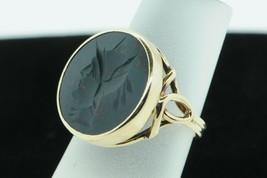 Art Nouveau 14K Yellow Gold Mercury Intaglio Bloodstone Ring (Size 5) - $435.00